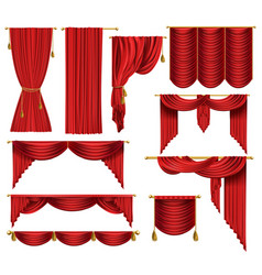 3d realistic set of red luxury curtains vector