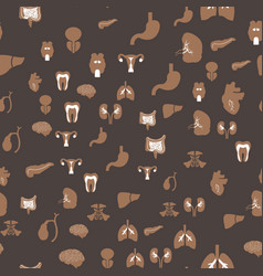 Abstract seamless pattern with human organs icons vector