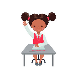 african american girl raising hand for an answer vector image