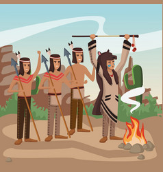 American indian warriors at village vector
