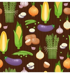 Asparagus corn and peas seamless background vector image
