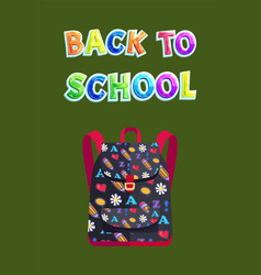 Back to school poster with bag vector