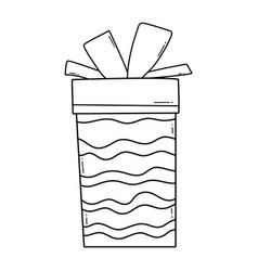 birthday giftbox cartoon black and white vector image