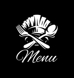 black template with fork spoon and cap vector image