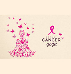 Breast cancer awareness pink butterfly yoga design vector