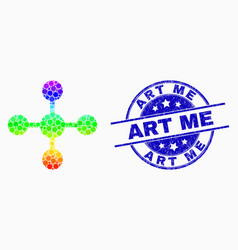 bright dot mesh node icon and scratched art vector image