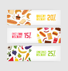 bundle of horizontal banner templates with bakery vector image