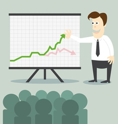 Business man with chart presentation to people vector image