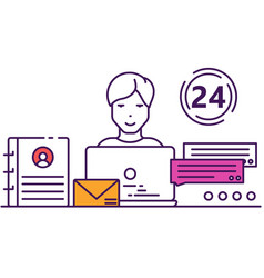 Call center chat support service icon vector