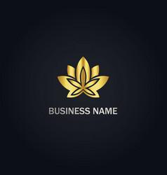 cannabis leaf gold logo vector image