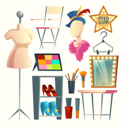 Cartoon dressing room collection vector