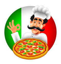 cartoon italian pizza chef on round italy flag vector image
