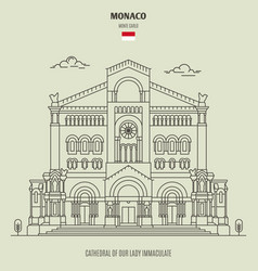 Cathedral of our lady immaculate in monaco vector