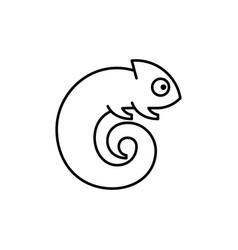 Chameleon line icon vector