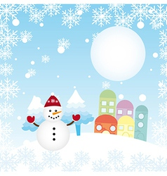 christams landscape with cute snowman and houses vector image
