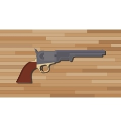 Civil war pistols gun with wood table background vector