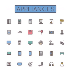 Colored Appliances Line Icons vector image