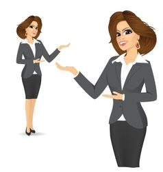 cute business woman showing something vector image
