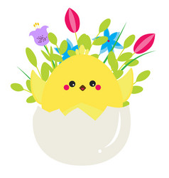 Cute cartoon chicken in easter egg with fowers vector