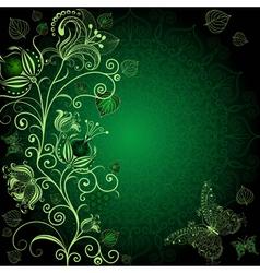 dark green floral frame vector image