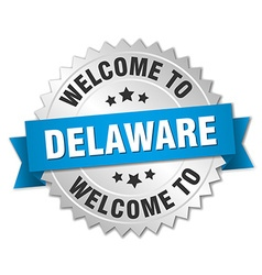 Delaware 3d silver badge with blue ribbon vector