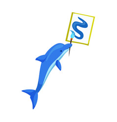 Dolphin with brush iconcartoon icon vector