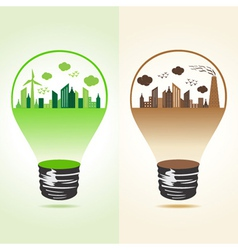 Eco and polluted cityscape in bulb vector