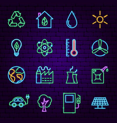 ecology neon icons vector image