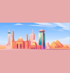 Egypt landmarks cairo city skyline mobile screen vector