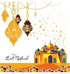 Eid Mubarak arabic muslim card design vector