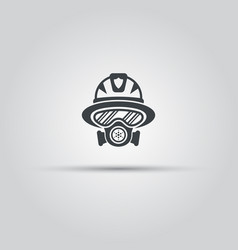 firefighter silhouette face icon with gas mask vector image