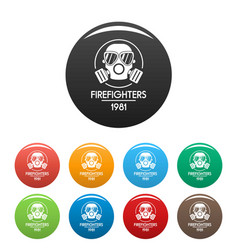 firefighters icons set color vector image