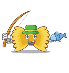 Fishing farfalle pasta mascot cartoon vector