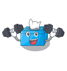 Fitness character tissue box on wood floors vector