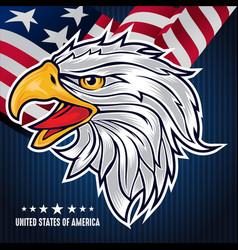 Flag background with eagle for usa independence vector