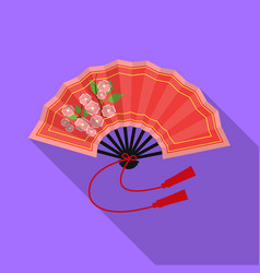 folding fan icon in flat style isolated on white vector image