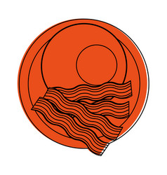 Fried egg and bacon strips food icon image vector
