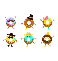 funny donuts characters set sweet humanized vector image