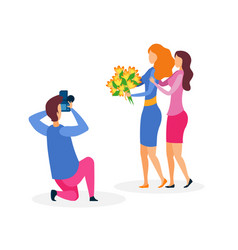 girlfriends photo session flat vector image