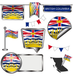 Glossy icons with flag of province british vector