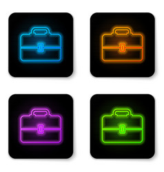 glowing neon toolbox icon isolated on white vector image