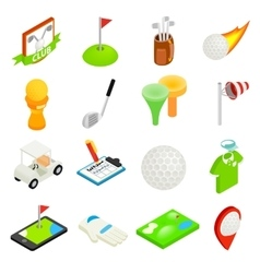 Golf isometric 3d icon set vector image
