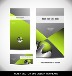 Green metal sphere flyer template design vector