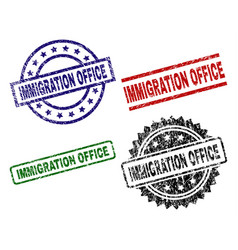 Grunge textured immigration office stamp seals vector