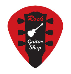 Guitar headstock in guitar pick with rock guitar vector