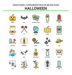halloween flat line icon set - business concept vector image