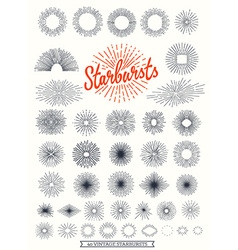 handmade sunburst design elements vector image