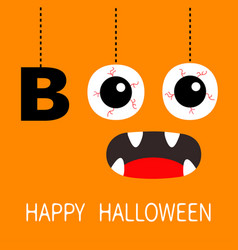 Happy halloween hanging word boo text eyeballs vector