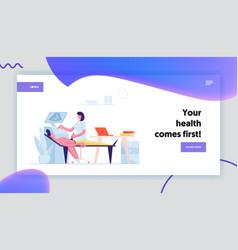 healthcare medicine landing page template female vector image