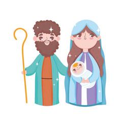 Holy mary joseph and bajesus manger nativity vector